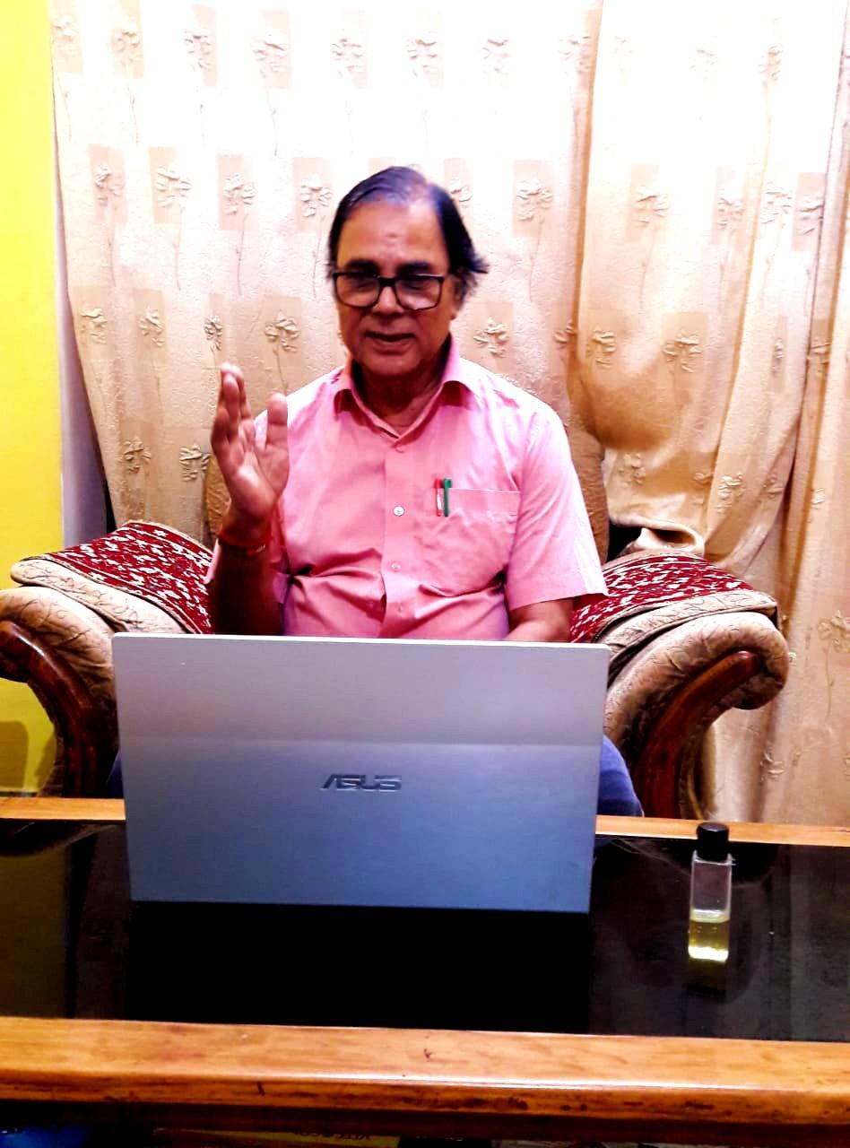 Samajsevi-Sahityakar Dr.Bhupendra Narayan Yadav Madhepuri taking part in BNMU Online Samvad regarding 1st Law Minister of Bihar Itihaspurush Shivnandan Prasad Mandal.