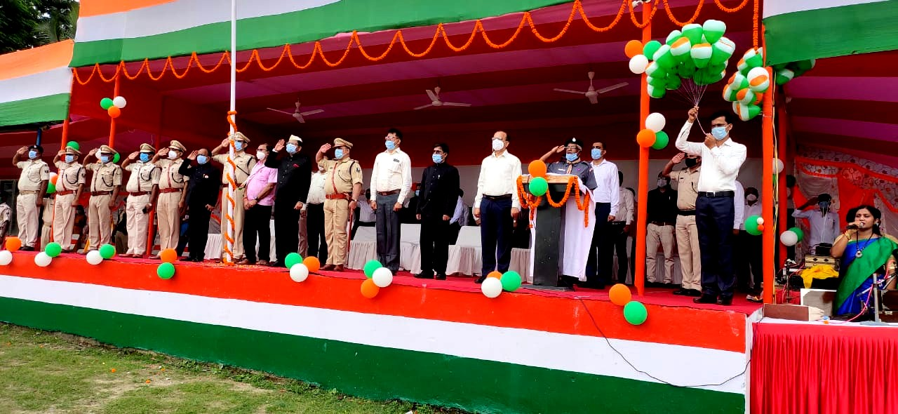 Giving Salute to the National Flag.